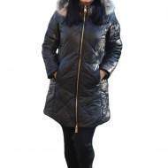Jacheta moderna Anya ,lunga cu gluga detasabila,nuanta de negru