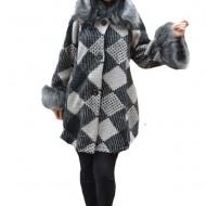 Jacheta moderna Mey din tricot ,imprimeu cu romburi ,nuanta de gri-alb