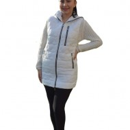 Jacheta tip vesta Denise cu model asimetric, 3d-heart ,nuanat de alb