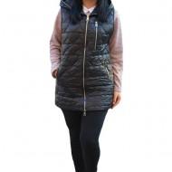 Jacheta tip vesta Denise cu model asimetric, 3d-heart ,nuanat de negru