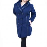 Palton calduros de dama, albastru inchis, model casual-elegant