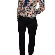 Pantalon casual cu insertii de cusaturi, model clasic, nuanta neagra