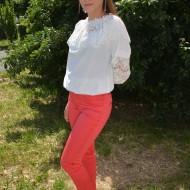Pantalon chic de culoare rosie cu design de strasuri lucioase
