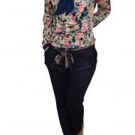 Pantalon cu buzunare lateral, nuanta de bleumarin, curea