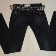 Pantalon de blug din bumbac 100%, bleumarin, cu curea in talie