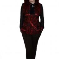 Pantalon rafinat, culoare maro, design de nasturi aplicati