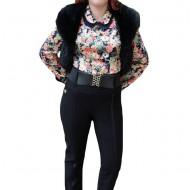 Pantalon rafinat din material elastic de nuanta neagra, cu curea