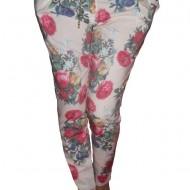 Pantaloni cu imprimeu interesant floral, multicolori