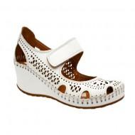 Pantof alb de zi cu talpa plina, din piele naturala cu decupaje