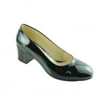 Pantof comod, de culoare neagra, cu toc de inaltime medie
