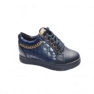 Pantof confortabil de nuanta bleumarin cu insertie de lant auriu