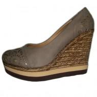 Pantof cu platforma si talpa intreaga, moderni, de culoare bej