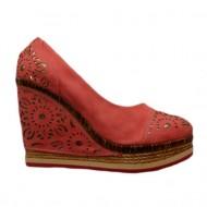 Pantof modern, cu platforma si talpa intreaga, de culoare corai