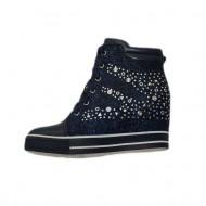 Pantof modern tip sport, culoare bleumarin cu design de strasuri
