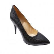 Pantof negru din imitatie de piele de sarpe cu toc inalt subtire