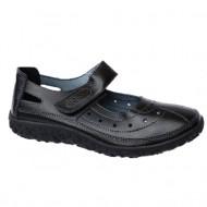 Pantof negru din piele cu perforat si bareta