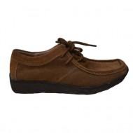 Pantof practic cu siret, de culoare maro deschis, cu talpa joasa