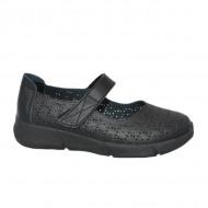 Pantofi cu talpa ortopedica, din piele, in nuanta de negru
