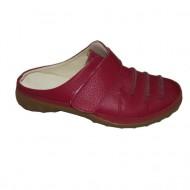Papuc clasic inchis la varf, nuanta rosie, bareta peste picior