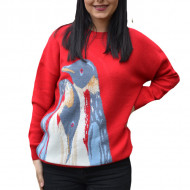 Pulover Fionna tricotat ,model cu pinguin ,rosu