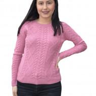Pulover tricotat Iullia cu model rafinat, nuanta de roz