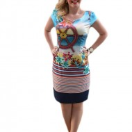 Rochie casual ,cu imprimeu tematic, cu tonuri multiple de culori