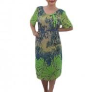 Rochie casual cu maneca scurta, bleumarin cu design verde