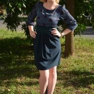 Rochie casual, de culoare bleumarin cu top turcoaz-albastru