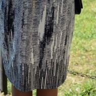 Rochie casual, material fin cu imprimeu bleumarin pe fond alb