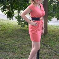 Rochie casual, pe culoare corai, feminina , originala, cu curea lata in talie