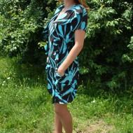 Rochie comoda cu maneca scurta, imprimeu negru-albastru
