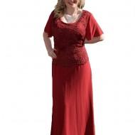 Rochie de culoare marsala, model elegant de ocazii, masuri mari