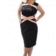 Rochie de culoare neagra cu model roz pudra si insertie de dantela