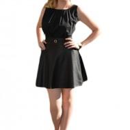 Rochie de culoare neagra, din voal cu fusta din piele ecologica