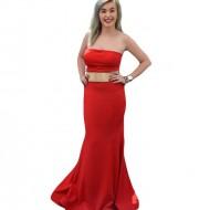 Rochie de gala tip sirena, de culoare rosie cu detaliu auriu