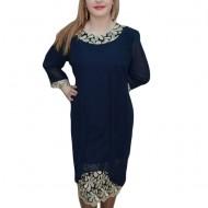 Rochie de ocazie, de culoare bleumarin, accesorizata cu broderie