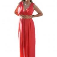 Rochie de ocazie masura mare, model lung de culoare corai