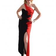 Rochie de ocazie superba, in nuante de negru cu rosu, cu broderie
