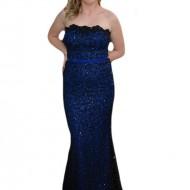 Rochie de seara lunga, chic, de culoare albastra cu decor negru