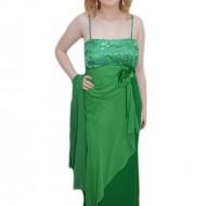 Rochie de seara lunga, de nuanta verde, design modern, din saten si voal