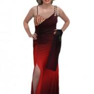 Rochie de seara lunga, rosie, cu insertii de strass-uri mari multicolore