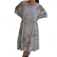Rochie de vara Elida model cu flori colorate,dantela in talie,nuanta de gri