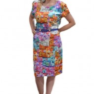 Rochie de vara, masura mare, cu imprimeu rafinat multicolor