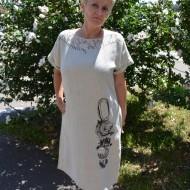 Rochie de zi cu imprimeu modern, culoare bej