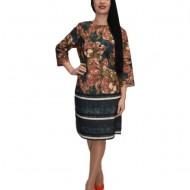 Rochie de zi cu imprimeu stil mozaic,nuanta maro