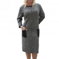 Rochie de zi masura mare, culoare gri inchis cu insertii de piele