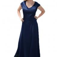 Rochie deosebita de nunta, nuanta bleumarin cu decor de perle