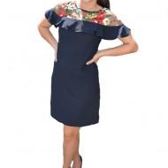 Rochie eleganta,Alizee,brodata cu flori ,nuanta de bleumarin