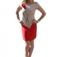 Rochie eleganta, cu model deosebit, maneca scurta, nuanta corai