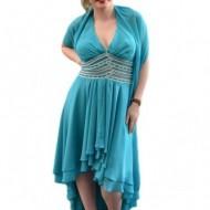 Rochie eleganta, culoare turcoaz, model scurt in fata lung in spate